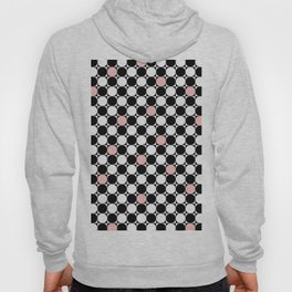 Geometrical abstract pink coral black white polka dots Hoody