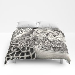 BioTechnological DNA Tree and Abstract Cityscape Comforters