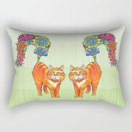 A Cat Sprouting Flowers Rectangular Pillow