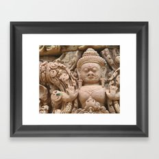 Wasp on a Stone Carving Framed Art Print