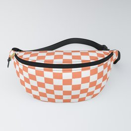 Living Coral Color Checkerboard Fanny Pack