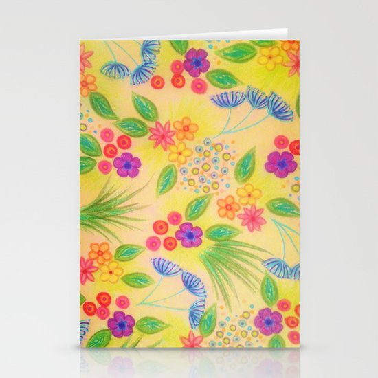 WILDFLOWER FANCY 1 - Cheerful Yellow Lovely Floral Garden Pattern Girly Feminine Trendy Flowers Stationery Cards