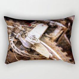 Motocross Bike Dirty Wheel Color Rectangular Pillow