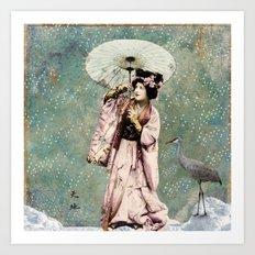 Japanese snow queen Art Print