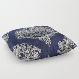 Cream Floral Moroccan Pattern on Deep Indigo Ink Floor Pillow
