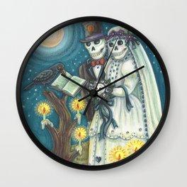 CEMETERY NUPTIALS - Susan Brack Skeleton Halloween Wedding Wall Clock