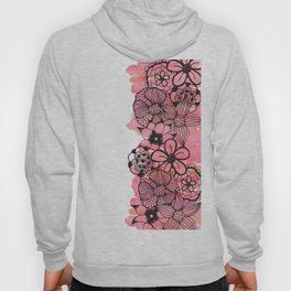 Black Floral Outline on Pink Watercolor Hoody