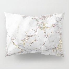 Champagne Rose Gold Blush Metallic Glitter Foil On Gray Marble Pillow Sham