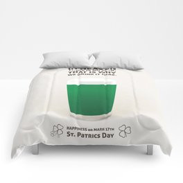 Green beer illustration quotes Comforters