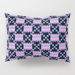 Cornflower Blue, Carnation Pink, Lavender Purple Kente Cloth on Black Pillow Sham