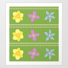 Spring Flowers Pattern [GREEN] Art Print
