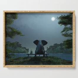 elephant and dog relaxing at summer night Serving Tray