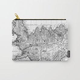 Vintage Map of Iceland (1761) BW Carry-All Pouch