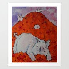 Pigs in Poppies Art Print