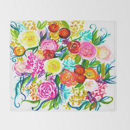 Bright Colorful Floral painting Throw Blanket