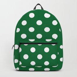 Polka Dots (White & Dark Green Pattern) Backpack