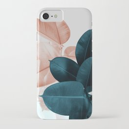 Blush & Blue Leaves iPhone Case