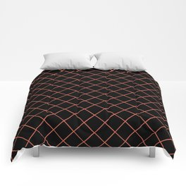 Pantone Living Coral Thin Line Stripe Grid (Pinstripe Pattern) on Black Comforters