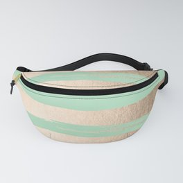 Painted Stripes Gold Tropical Ocean Green Fanny Pack