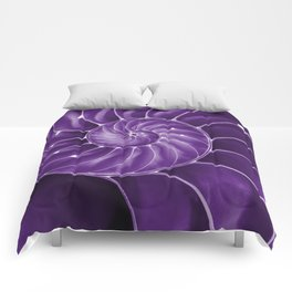 Ultra Violet Chambered Nautilus 2 Comforters