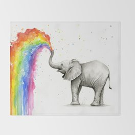 Baby Elephant Spraying Rainbow Throw Blanket