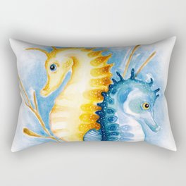 Seahorses Orange And Blue Watercolor Art Rectangular Pillow
