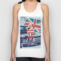 Vintage Censored Hot Girl with mixed art Unisex Tank Top