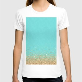 Sparkling gold glitter confetti on aqua teal damask background T-shirt