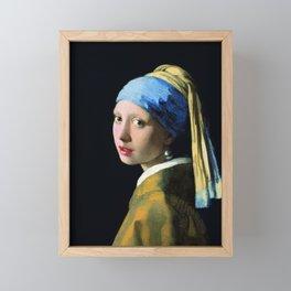 Jan Vermeer Girl With A Pearl Earring Baroque Art Framed Mini Art Print