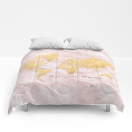 "Adventure awaits, gold and pink marble detailed world map, ""Sherry"" Comforters"