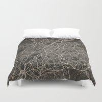brussels Duvet Covers featuring brussels map ink lines by NJ-Illustrations