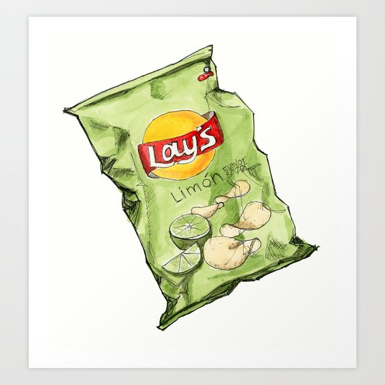 Lime Flavoured Chips Art Print