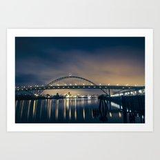 Fremont Bridge at Night Art Print