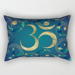 Geometric Om Symbol Gold and Marble Rectangular Pillow