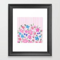 Floral Spring and Stripes Pink Framed Art Print