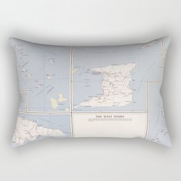 Vintage Map of The West Indies (1958) Rectangular Pillow