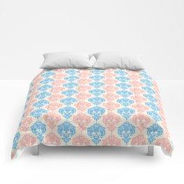 Vintage chic ivory coral blue floral damask pattern Comforters