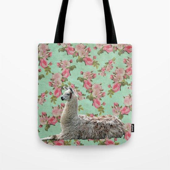 Floral Llama Tote Bag