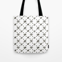 Floral Geometric Pattern Black and White Tote Bag