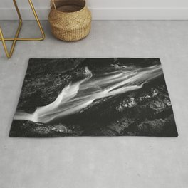 Black and white waterfall in Hell Gorge, Slovenia Rug