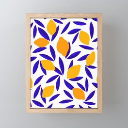 Blue and yellow Lemon Summery Pattern Framed Mini Art Print