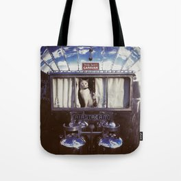White Cat in a Vintage Airstream Window Tote Bag