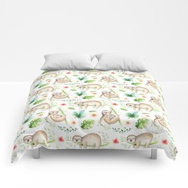 Modern hand painted green brown watercolor tropical floral sloth Comforters