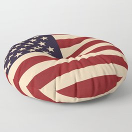 American Flag Vintage Americana Red Navy Blue Beige Floor Pillow