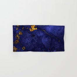 Gold Blue Indigo Malachite Marble Hand & Bath Towel