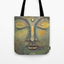 Rusty Golden Buddha Face - Zen and Balance Watercolor Painting Tote Bag