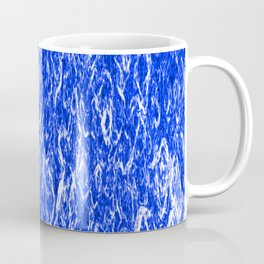 Vertical metal texture of bright highlights on blue waves. Coffee Mug