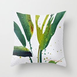 Tropical Green Leaves Throw Pillow