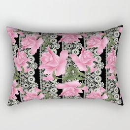 Gentle roses on a lace background. Rectangular Pillow