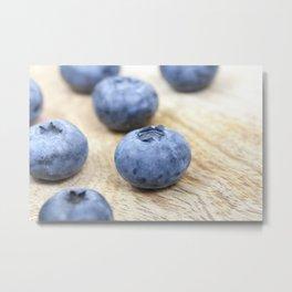 blue blueberries closeup Metal Print